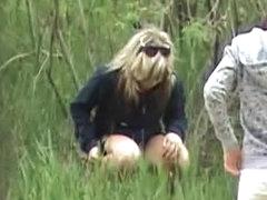 Voyeur video of girl pissing outdoors