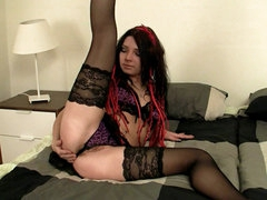 Punk chick solo in sexy stockings