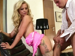 Glamour blonde on high heels Bella Baby masturbating bf's cock