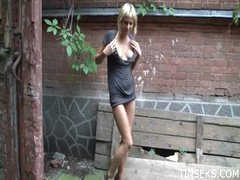 Young teen girl masturbates outdoors