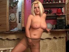 Curvy girl strips to tight pantyhose