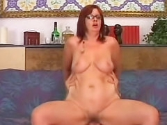 Redhead milf anal sex in glasses