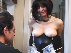 Amazing nipple torture with cute..