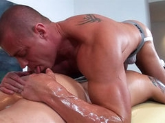 Gay oil massage and intense anal sex