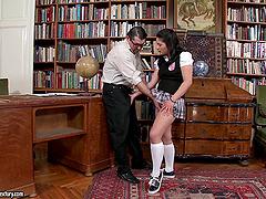 Connie enjoys upskirt doggy style..