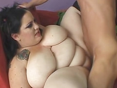Fatty with huge natural boobs fucked