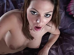 Knob gobbling and cock riding brunette..