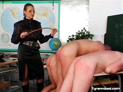 Teacher in blouse abuses her students