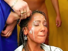 Satin chick takes hot facials