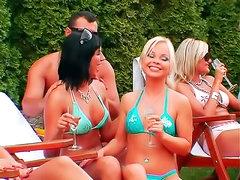 Bikini girls crave orgy outdoors