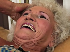 Hairy cunt granny girl masturbates solo