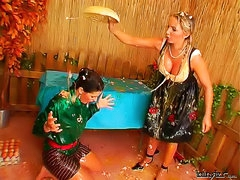 Food fight with German beer girl