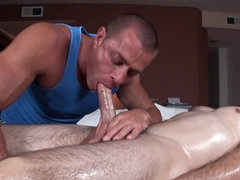 Erotic gay massage gets client hard