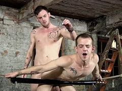 Gay anal sex as hot wax drips on him