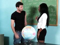 Sexy teacher Persia Black interracial..