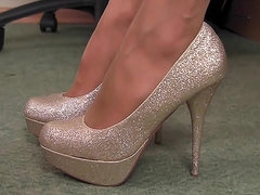 She teases sparkly heels and pantyhose