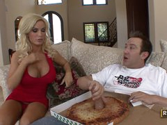 Playing with a large cock in the pizza