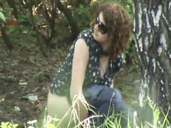 Voyeur pissing outdoors with glasses..
