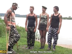 Military men gangbang hot blonde