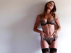 Sexy lingerie on leggy solo girl