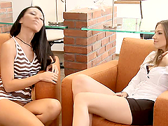 Two hot teen babes perform moisty..