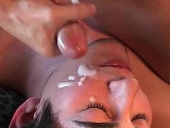Intense gay blowjob ends with facial