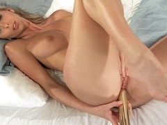 Gina is demonstrating her gorgeous little pussy and masturbating it