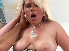 Chubby blonde Karin gets her hairy and..