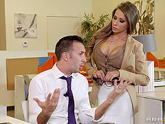 Terrific office sex scene with busty..