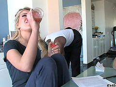 Gorgeous Blonde Gets A Nasty Facial..