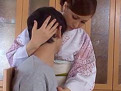 Japanese wife Miku Sunohara gives hand..