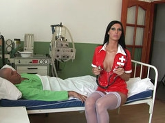 Horny brunette doctor is sucking huge..