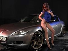 Silver car pantyhose tease