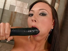 Latex striptease and erotic dildo sex