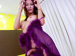 Skinny Asian shemale Toon masturbates..
