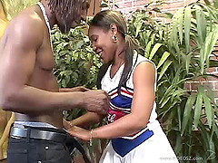 Ebony With Long Hair Gets Rocked With..