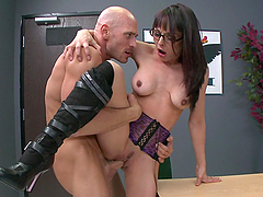 Cytherea titfucks Johnny Sins's dick..
