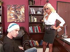 Nina Elle gives a titjob to Danny D..