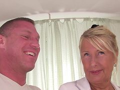 Mature blonde Dillon A is creampied by..