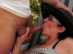 Chubby granny Margo T. blows and gets..