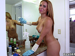 Latina Maid Rubs Down Cock Before..