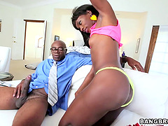 Endearing Ebony With Small Tits Enjoys..