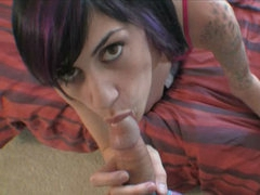 POV blowjob from tattooed freshie
