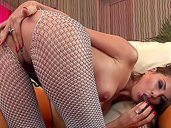 Fishnet fantasy with busty and bouncy..