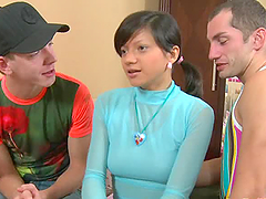 Hot teen brunette Adelle blows and gets banged by two guys
