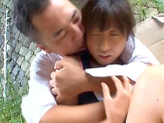 Horny Japanese AV Model having wild sex outdoors