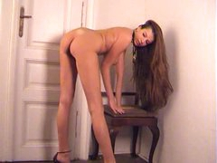 Amazing long brown hair on babe