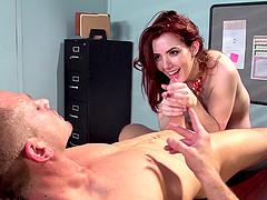 Redhead slut Ember Stone blows and..