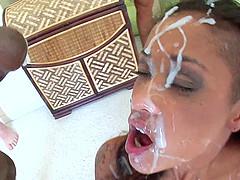 Slim ebony Skin Diamond enjoys a..