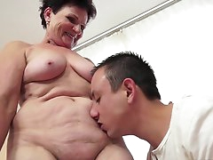Facial ending for a busty grandma